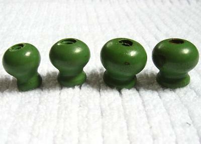 4 Vintage Small Wood Drawer Cabinet Door Knobs Pulls Jadeite Green Sewing Spice