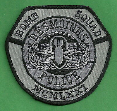 Des Moines Iowa Police Bomb Squad Patch Tactical Gray