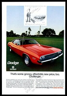1971 Dodge Challenger red car photo and cartoon art vintage print ad