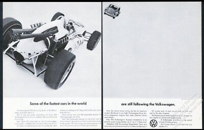 1965 VW Beetle classic car and race car photo Volkswagen 16x11 ad