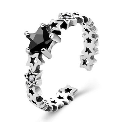Vintage Silver Finger Band Ring Star With CZ Women Open Adjustable Jewelry Gift