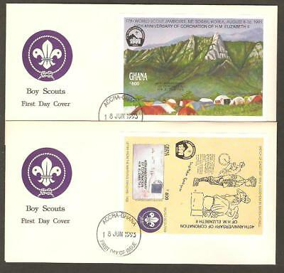 GHANA 1993 17th World Jamboree BOY SCOUTS Bicycle QUEEN OP 2 IMPERF SS FDCs