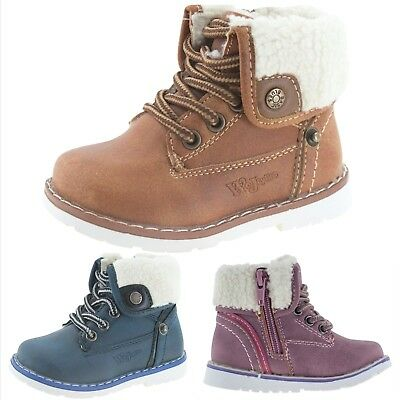 New Baby Kids Boys Girls Faux Leather Winter Boots Zip Laces Warm Fur Walk Shoes