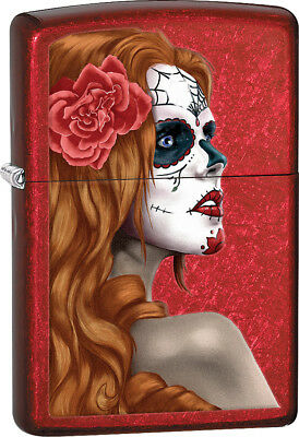 Zippo 28830 Candy Apple Red Day Of Dead Girl Classic Windproof Lighter