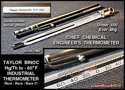 TAYLOR CHEMICAL ENGINEER'S  -60°F Precision Binoc Hg/Th Instrument Thermometer