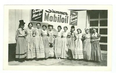 1950's Summer Mobiloil Gasoline Photo, Young Women in Vintage Dresses