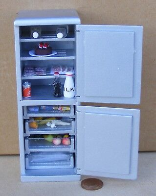 1:12 Scale Silver Wooden Fridge Freezer Complete With Food Tumdee Dolls House 73