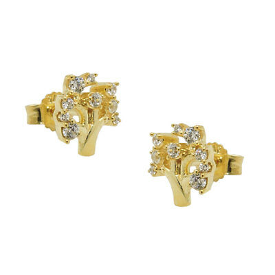 Studs Earring Ear Jewelry, Tree with White Zirconia, 375 Gold Yellow Gold