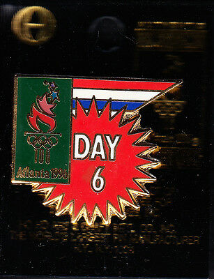 Rare Pins Pin's .. Olympique Olympic Atlanta 1996 Usa Day 6 Sixieme Jour 3D ~16