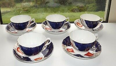 Victorian Gaudy Welsh Tulip Pattern Staffordshire China 5 x Cups & Saucers c1900