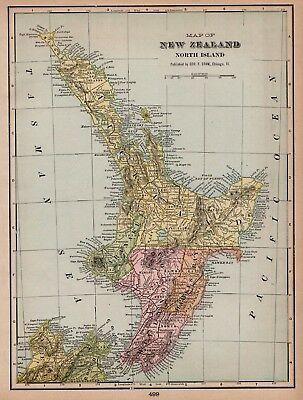 1908 Antique NEW ZEALAND Map Vintage Map of The NORTH ISLAND New Zealand 5767