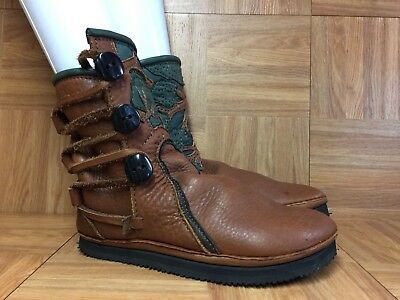 RARE🔥 Handmade Native American Indian Style Leather Boots Women's 6-7 Vibram LE