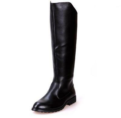 0974e32ee5a MENS KNIGHT BLACK Riding Military Combat Knee High Boots Shoes ...