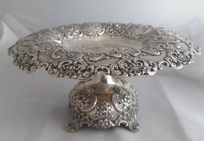 c1899 Fancy Tiffany Makers Sterling Silver Compote English King Pattern 4 of 4