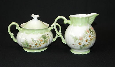 Hand Painted Covered Sugar Creamer Green Daisy Porcelain Signed Vintage  Floral