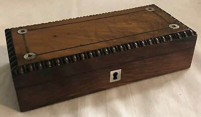 ANTIQUE 19THC. REGENCY ROSEWOOD & MOTHER OF PEARL INLAY BOX c1830