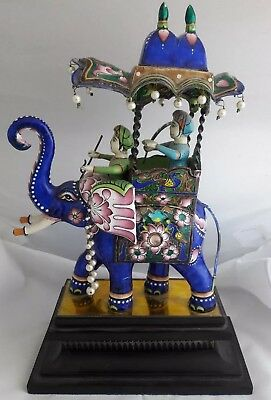 Magnificent India Sterling Silver Enamel Statue Elephant Men with Swords