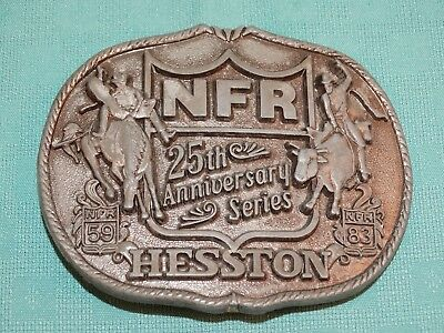 Vintage Nfr 25Th Anniversary Series Hesston 1959- 1983 Belt Buckle Bull Riding