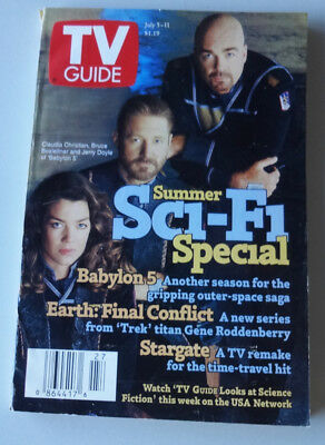 Babylon 5 TV Guide 1997 Claudia Christian Bruce Boxleitner Jerry Doyle B5 Sci-Fi