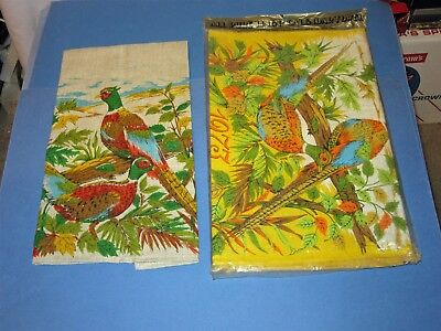 2 unused Pheasants 1973 Calendar Linen Kitchen Tea Towel Parisian Prints Package