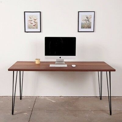 Rustic Industrial Solid Wood Desk with Hairpin Legs - Various Widths & Colours