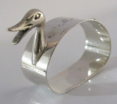 English Solid Silver Novelty Duck Napkin Ring 1951