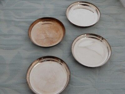 Set of 4 French Silver Plate? Christofle Dishes/Coasters, fully stamped to edge