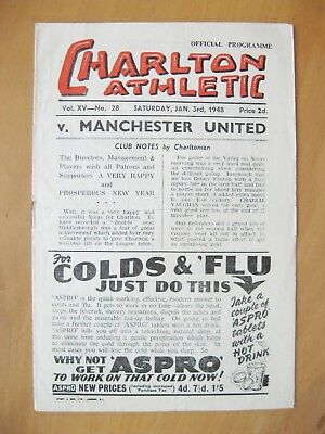 CHARLTON ATHLETIC v MANCHESTER UNITED 1947/1948 VG Condition Football Programme