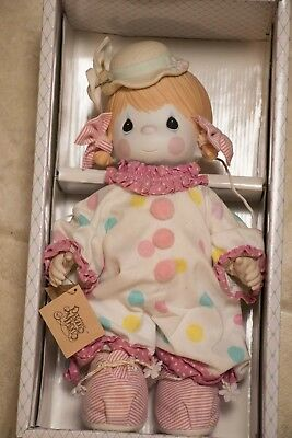 VINTAGE Precious Moments Candy  Clown Porcelain Bisque Doll In Box