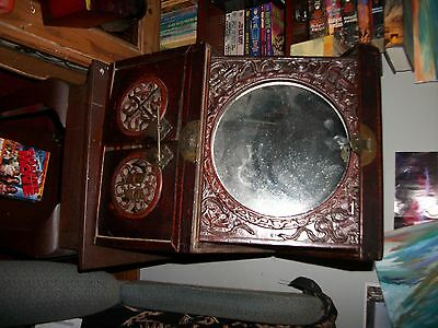 ANTIQUE VINTAGE Chinese Japanese Asian Handmade Jewelry Box Lacquer w/Mirror