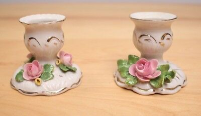 Vintage Dresden Germany Porcelain Candle Holders Pink Rose Set of 2