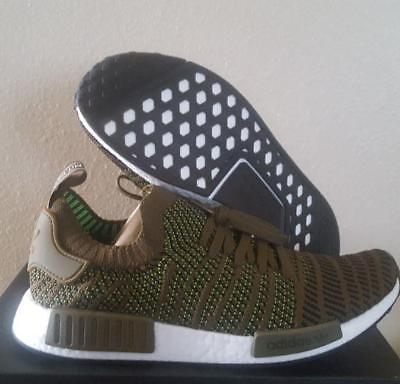 best cheap a8ef9 b0610 NEW ADIDAS ORIGINALS NMD R1 STLT PK Boost Prime Olive Knit Running Shoes  Size 11