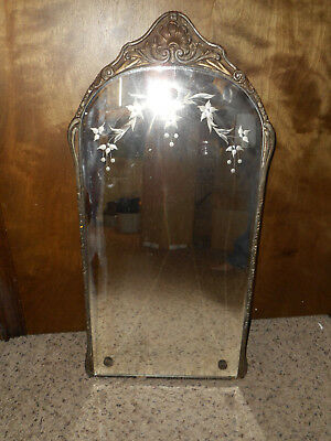 "Vintage Etched Cut Glass Mirror Mounted in Decorative Wood Frame 13.5"" x 27"""