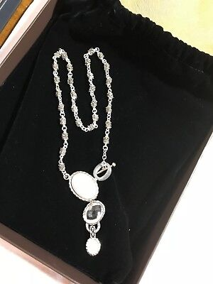 """Michael Dawkins Sterling Howlite Mother-of-Pearl and Crystal Quartz Necklace 18"""""""