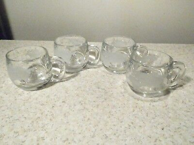 4 Nescafe Worl Globe Coffee Mugs / Cups Excellent