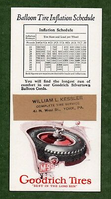 """GOODRICH TIRES Ink Blotter - 3½""""x7"""", c1930, Spare Tire, York PA, Exc Cond"""