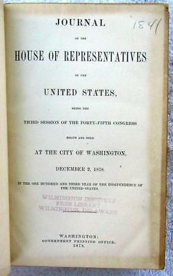 1879 HOUSE of REPRESENTATIVES Journal – Daily Proceedings – 45th Congress, 3rd S