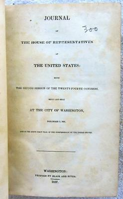 1837 HOUSE of REPRESENTATIVES Journal – Daily Proceedings – 24th Congress, 2nd S