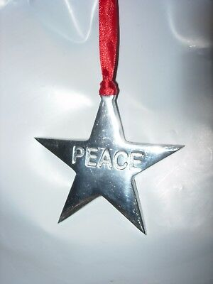 "Silver Metal Peace Patriotic 3"" Star Christmas Tree Ornament Holiday Decor"
