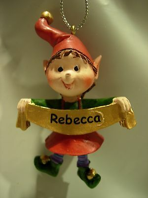 New Girls Boys Name Rebecca Christmas Tree Ornament Elf Pixie Holiday Xmas Elves