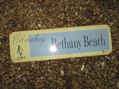 """BETHANY BEACH Cool-as-a-breeze Metal Sign, Made in USA, 18""""x 5.5"""", Used Cond."""