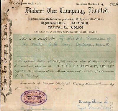 India 1947's Diabari Tea Company Ltd. Share Certificate # FB17