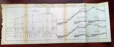 1873 Engineering Diagram Canal from Aisne to Marne Profiles France