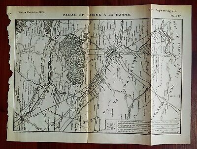 1873 Engineering Diagram Map Vienna Expo Canal of L'Aisne a la Marne