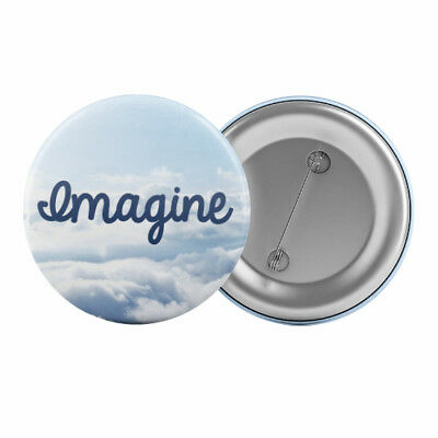"Imagine Peace Badge Button Pin 1.25"" 32mm Positive Hope Anti War"