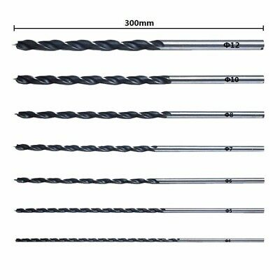 7pcs/set 300mm Extra Long Wood Boring Drill Bits Set Brad Point For Wood Working