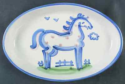 "M A Hadley COUNTRY SCENE BLUE Horse 14"" Oval Serving Platter 6599680"
