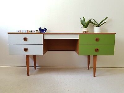 Stylish Mid Century Green & White Home Study Office Desk Sideboard Retro Vintage