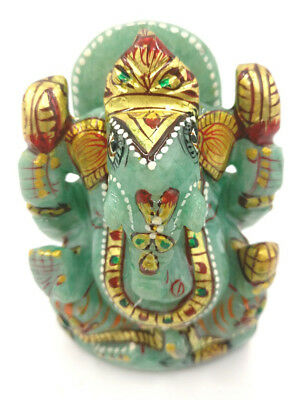 Jade Stone Ganesh Statue 3.4 inches with Gold foil work - Ganesha gifts