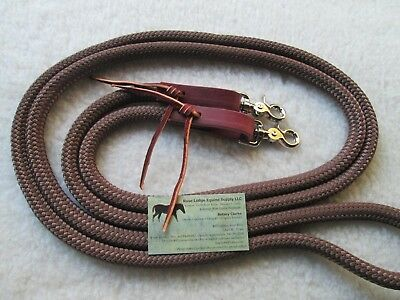 "BROWN 10' x 9/16"" Yacht Rope Loop Reins Trail Training Leathers Snaps Rose Lodge"
